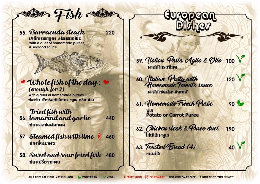 Fish Menu - Blue Lagoon Restaurant Koh Chang